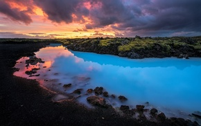 sunset, Iceland, yellow, water, nature, landscape