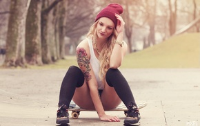 strategic covering, sneakers, tattoo, skateboard, black stockings, blonde