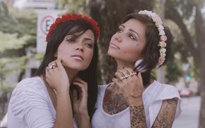 girl, model, portrait, tattoo, face, wreaths