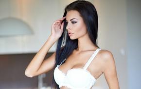 brunette, black hair, lingerie, face, model, portrait