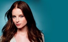 blue background, blue eyes, Continuum, Rachel Nichols, actress, brunette