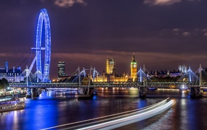 Westminster, London Eye, city, building, River Thames, London