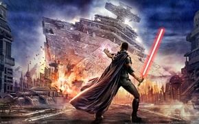 video games, starkiller, Star Wars The Force Unleashed, Star Destroyer, Star Wars, lightsaber