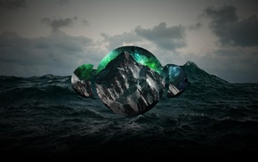 abstract, sea, polyscape, nature, mountain