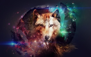 wolf, fantasy art, artwork, space, planet, science fiction