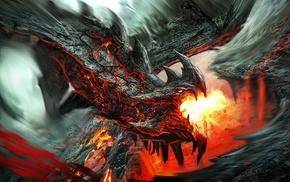 creature, fantasy art, dragon, lava, artwork, fire