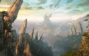 fantasy art, mountain, digital art, landscape, nature, artwork