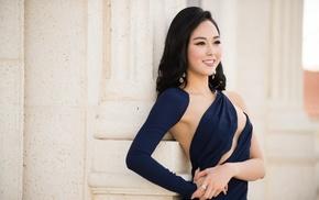 Asian, long hair, smiling, girl outdoors, model, Korean
