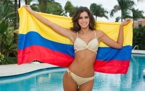 brunette, water, Paulina Vega, girl outdoors, swimming pool, bikini