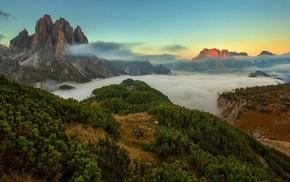 mountain, sunset, nature, mist, landscape, clouds