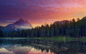 forest, landscape, reflection, clouds, lake, Italy