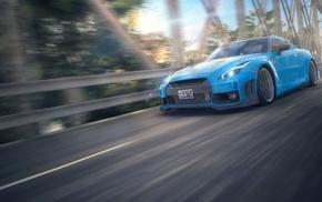 car, Nissan GTR, blue cars, motion blur, Nissan