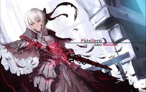 Saber Alter, FateZero, black ribbons, hair bun, silver hair, armor