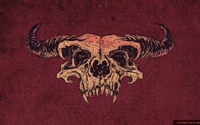skull, red, artwork, horns, satanic, demon