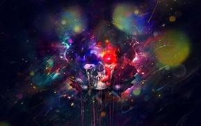 artwork, digital art, colorful, fantasy art, skull