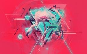 abstract, flamingos, digital art
