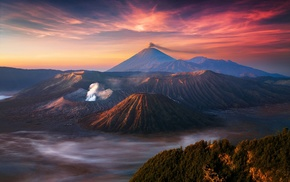 mist, volcano, mountain, landscape, nature, Indonesia