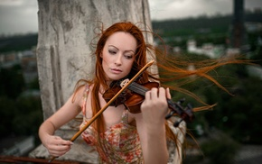 windy, musicians, redhead, girl outdoors, playing, long hair