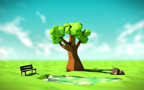 field, nature, low poly, bench, rock, horizon