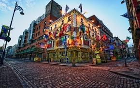 bars, restaurant, street, empty, Dublin, street light