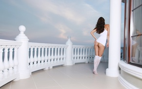 ass, back, Anna Sbitnaya, lingerie, rear view, white panties