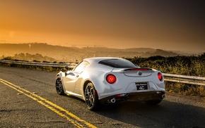 road, Alfa Romeo, sunset, Alfa Romeo 4C, landscape, car