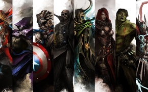 Captain America, Loki, Hulk, Nick Fury, Iron Man, Hawkeye