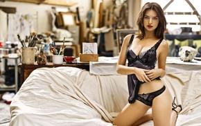 model, lingerie, girl, brunette, Emily Ratajkowski