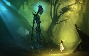 fantasy art, artwork, aliens, jungles, children