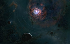space, nebula, planet, digital art, galaxy, stars