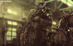 futuristic, robot, war, digital art, gun, machine