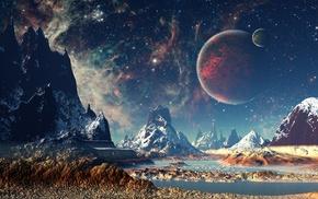 stars, mountain, space, planet, digital art, artwork