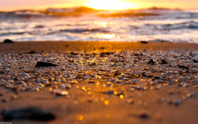 sunset, pebbles, depth of field, bokeh, beach, sand