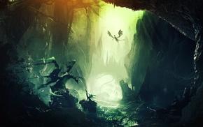 forest, artwork, dragon, fantasy art, digital art, mountain