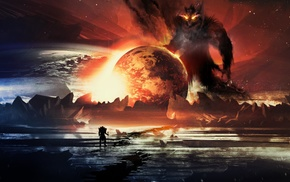 digital art, warrior, fantasy art, planet, artwork, creature