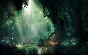 digital art, fantasy art, nature, forest, deer, artwork