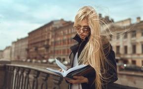 girl, model, glasses, blonde, books