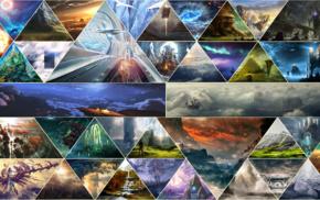 fantasy art, triangle, mosaic, geometry