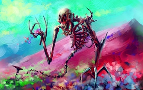 artwork, mountain, digital art, skeleton, colorful, fantasy art