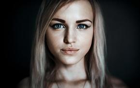portrait, blonde, blue eyes, Alla Emelyanova, girl, model