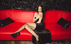 high heels, black dress, girl, Alla Berger, model, couch