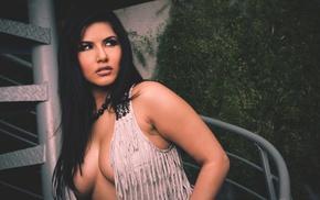 cleavage, girl, brunette, boobs, pornstar, long hair