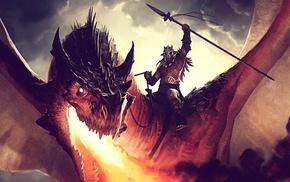 dragon, digital art, fantasy art, artwork, warrior