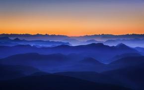 mountain, nature, mist, landscape, sunrise