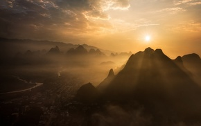 China, clouds, landscape, sunrise, Guilin, nature