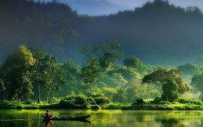 landscape, green, boat, mountain, Indonesia, forest