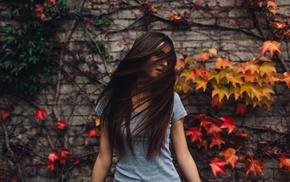 plants, girl, long hair, walls, brunette, love