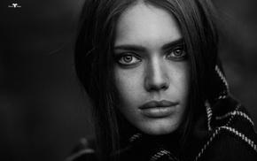 face, girl, monochrome