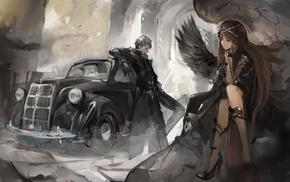 angel, fantasy art, black, brunette, old car, original characters