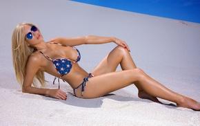 bikini, girl with glasses, sunglasses, model, girl, sand